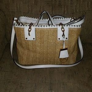 EUC Michael Kors Straw Satchel